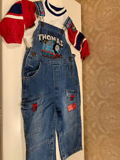 Thomas The Train Baby Boy Size 24 Months Shirt & Denim Overalls Outfit