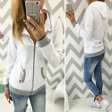 New Women Casual Hooded Hoodies Jumper Ladies Zip Sweatshirt Pullover Top Coat