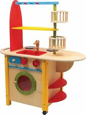 """Toy Kitchen """"All in One Deluxe"""" Wooden Legler Natural Pretend Play Children Cook"""