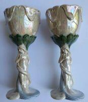 Vintage Ceramic Figural Woman Iridescent Planter Candle Holder Cup Decor Unique