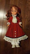 17 inch Vintage Regal Canada sleep eyes red dress lace doll woman girl umbrella