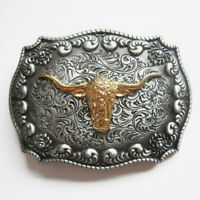Bull Rodeo Cowboy Western Metal Belt Buckle