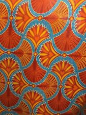 ORANGE BLUE MULTICOLOR African Wax Print 100% Cotton Fabric (44 in.) Sold BTY