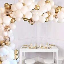 110 Pcs White Gold Confetti Balloons Metallic Decorations Set Garland Arch Kits