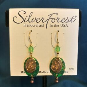 Silver Forest Earrings- Wave - 18k Bonded on Surgical Steel Earwire - NEW w tags