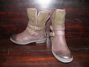 New Womens UGG Simmens Leather Brown Buckle Wool Warm Mid Winter Waterproof Boot