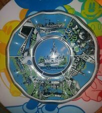 Disney World Magic Kingdom Glass Candy Collectible Dish Small World Castle 1973