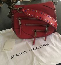 "MARC JACOB Red calf leather ""P.Y.T"" crossbody bag crystal embellishments Nice!!"