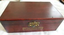 ANTIQUE MAHOGANY SUPPLY BOX NATIONAL CASH REGISTER WITH TOOLS CIRCA 1930'S
