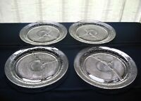 "Indiana Glass 4 Clear Daisy Pattern # 620 Sandwich 10"" Grill Plates"
