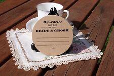 My Advice Rustic WEDDING COASTERS, LETTERPRESS X 100 Round