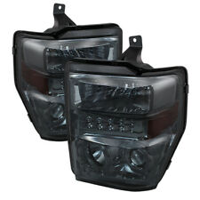 Ford 08-10 F250 F350 F450 F550 SuperDuty Smoke LED Halo Projector Headlights