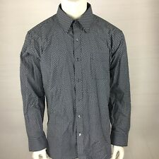 Henry Grethel Men's Size XL CLassic Fit Long Sleeve Dress Shirt Button Up Navy.O