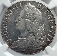 1750 GREAT BRITAIN UK King George II Silver Half Crown English Coin NGC i81747