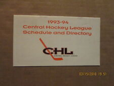 CHL Schedule & Directory Vintage Defunct Circa 1993-94 League Pamphlet Schedule