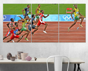 Usain Bolt Finish Line Olympics Wall Art Multi Panel Split Canvas Print 3 Piece