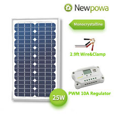 Newpowa 25 Watt 25W 12V Solar Panel + PWM 10A Controller Battery DC Charging Kit