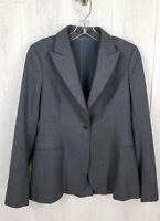 THEORY Womens Sz 8 One-Button Stretch Wool Suit Blazer Jacket Gray