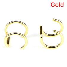 2PCS Men Women Fake Nose Lips U Ring Ears Clip Hoop Earrings Unisex No Piercings