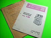 Seeburg V-200 Select-O-Matic 200 Original Jukebox Phonograph Manual & Envelope +