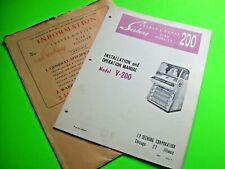 Seeburg V-200 Select-O-Matic 200 Original Jukebox Phonograph Manual & Envelope +