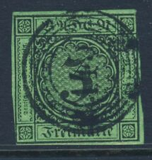 BADEN GERMANY 1853-58 3 Gulden Black on Green Paper IMPERFORATE SG 9 VFU