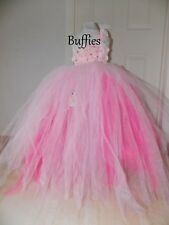 Girls Pink tutu dress bridesmaid flower Wedding princess bridal party Pageant