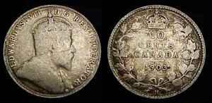 CANADA 1903 H Silver Ten Cents G+