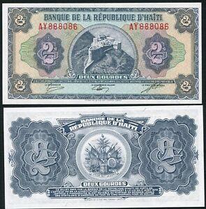 Haiti 2 gourdes 1984-1985  Henry Citadel Milot TDLR Print P245A UNC