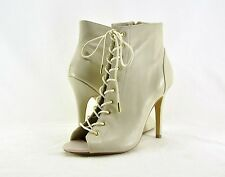 5c7d12923bc Steve Madden Women s Gladly Lace up Heel BOOTIES Bone Leather Size 8.5