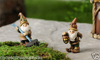MINIATURE GNOMES FOR GNOME VILLAGE GARDEN RESIN 2.6 in ELVES WITH RAKE LANTERN