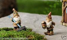 Miniature Gnomes For Gnome Village Garden Resin 2.6 in Elves With Rake Lantern