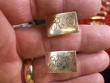 "NICE PAIR OF VTG LIGHTLY ROSE GOLD FILLED CUFFLINKS MONOGRAMMED ""RO"", BY ""P & K"""