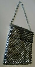 Vtg Whiting & Davis silver mesh small bag with double chain