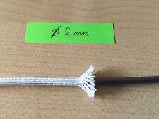 1m Gewebeschlauch Glasfaser Glasseide Schlauch Kabel Hitzeschutz  2,0mm Weiß