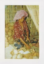 SINGAPORE MALAY WOMAN PEELING COCONUTS 1955 TO MISS GWEN, BASCOMBE, HAMPSHIRE