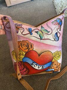 Original, handbemalte Echtleder- Handtasche von Anuschka