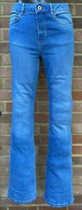 "Massimo Dutti Women Blue High-Rise Stretchy Flare Long Leg Jeans Denim L33"""