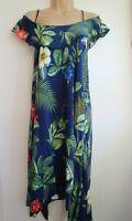 COMENG Women's Blue Multi Coloured Floral Printed Off Shoulder Dress Size 12 L