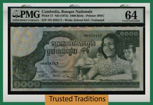 TT PK 17 ND (1973) CAMBODIA BANQUE NATIONALE 1000 RIELS PMG 64 CHOICE UNC!