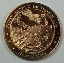 History of the U.S. First Battle of Ironclads (1862) Proof Bronze Medal