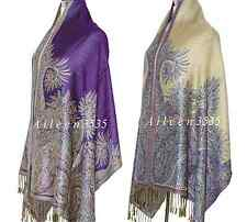 Triple Layer Pashmina & Silk PaisleyShawl-Dark.Purple#D