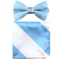 New Men's Two tones Pre-tied Bow Tie & Hankie Set light blue White formal