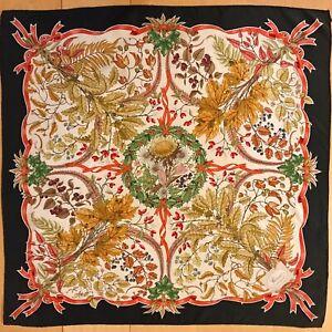 Vintage Gucci V. Accornero Flora Silk Scarf Daisies Leaves Berries Acorns Ivy
