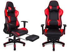 Bürostuhl Sportsitz Gaming Stuhl Chefsessel Sessel Fußstütze Kissen Lenden Kopf
