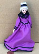 1:12 Scale Victorian Lady In A Purple Dress Tumdee Dolls House Miniature Doll A