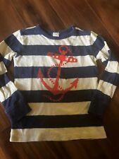 girls boys CREW CUTS SAILOR SHIRT anchor STRIPED cotton NAVY IVORY cute size 4-5