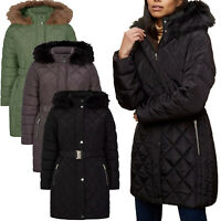 Ex-Store Womens Padded Long Jacket Quilted Belted Faux Fur Hooded Ladies Coat