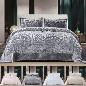 Luxury Velvet Quilted Bedspread Throw 3 Piece Bedding Set Double King Super King