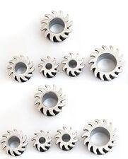 10 x in Acciaio Chirurgico Orecchio Tunnel appuntite Spine lame con anello in gomma o